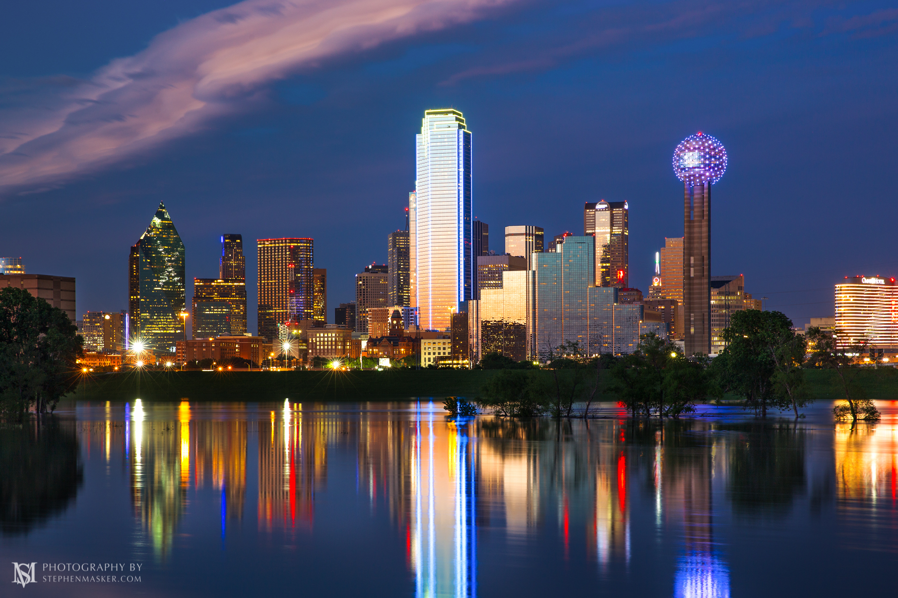 Dallas Skyline at Dusk with Reflection